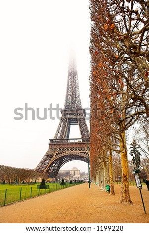 The Eiffel Tower in Paris, France. Copy space.