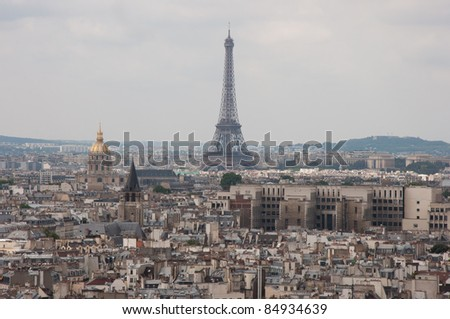 The Eiffel Tower, Paris, France, in horizontal orientation, with the skyline of Paris in the foreground and background