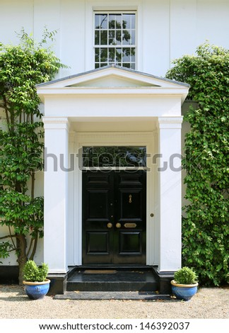 The entrance to an elegant Georgian country house