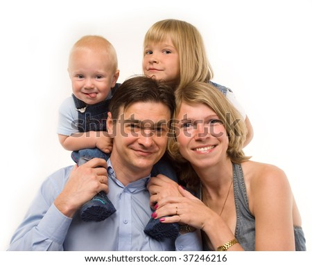 The family - father, mother and two child (boy and girl)