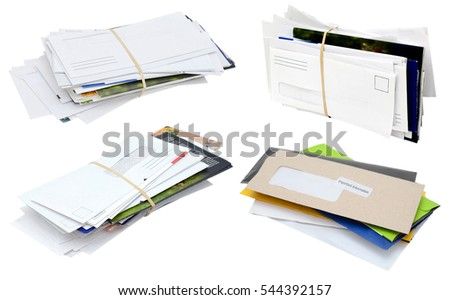 the family letter mails isolated white