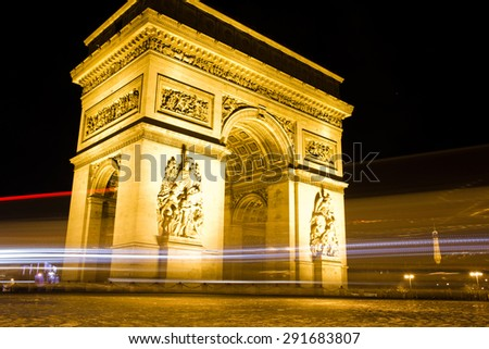 The famous Arc de Triumph at night, Paris, France