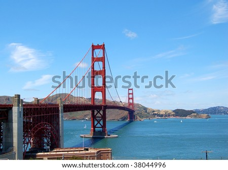 the famous golden gate bridge in san francisco on a clear day