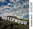 The famous Hollywood Sign high atop the Los Angeles foothills. Image is square. - stock photo