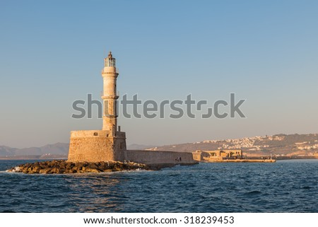 The famous lighthouse in Chania, Crete, Greece. One of the oldest surviving lighthouse in the world
