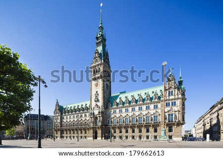 The famous town hall in Hamburg, Germany