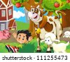 The farm illustration for kids 2 - stock photo
