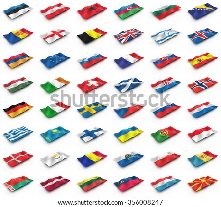 The flags of Europe from the cubes. European flags on a white background.