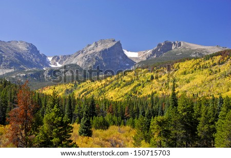 The front range of the Rocky Mountains in Colorado in early autumn covered with yellow aspen.