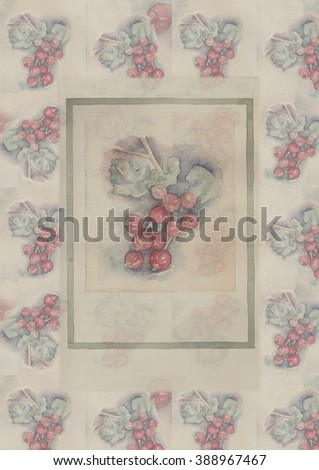 The fruits of the Ribes. Hand drawn watercolor painting decorative can be used for wallpaper, pattern fills, web page background, surface textures, textiles, cards, postcards