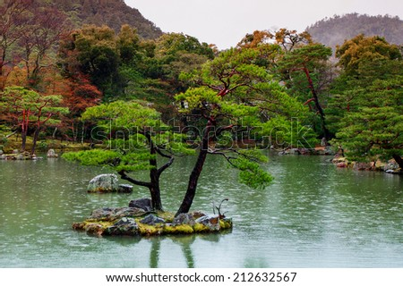 The garden of Kinkakuji Temple (The Golden Pavilion) in Kyoto, Japan