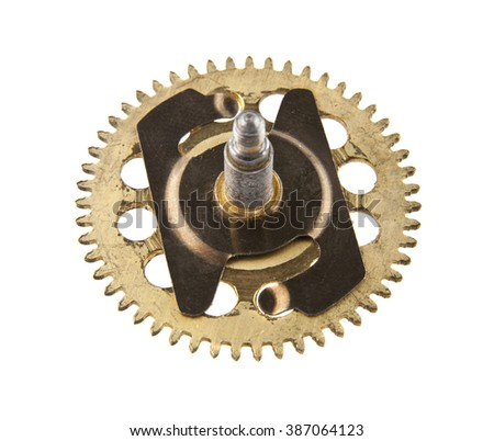 the gears from the clock isolated on white background
