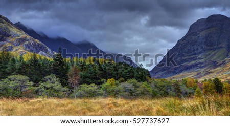 The Glencoe. River Coe valley. Cloudy and rainy october midday. Scottish highland, Scotland.