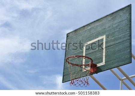 the goal sign symbol of basketball sport in yard lawn turf field ground playground