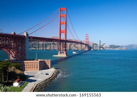 The Golden Gate Bridge and Fort Point in San Francisco Bay
