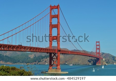 The Golden Gate Bridge, crossing San Francisco Bay in Northern California.