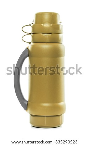 The golden thermos. Isolate on white background.