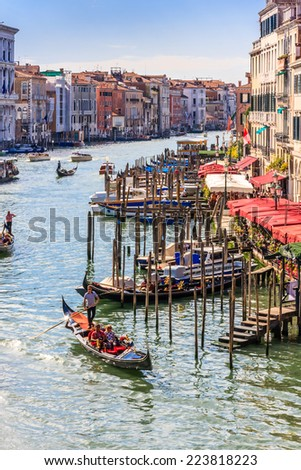The Grand Canal, Venice, Italy.  Taken from the Rialto Bridge.