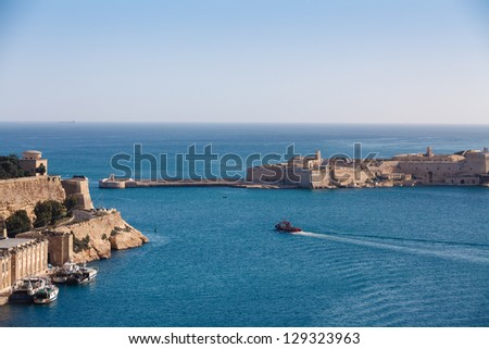 The Grand Harbour of Valletta, view from Upper Barracca gardens. Valletta, Malta