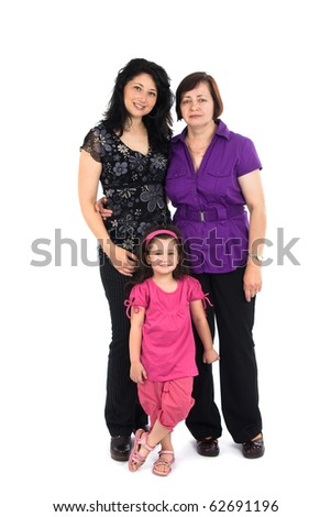 The grandmother, mum and the grand daughter it is isolated on a white background