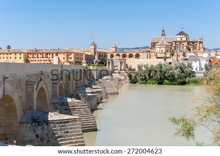 The Great Mosque and Roman Bridge in Cordoba in Spain