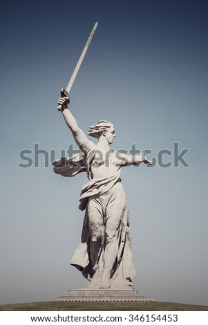 "The greatest sculpture in the world ""Motherland"" on Mamayev Kurgan in the city of Volgograd"