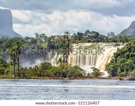 The Hacha falls in the lagoon of Canaima national park - Venezuela, Latin America