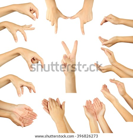The Hand on a white background, collage