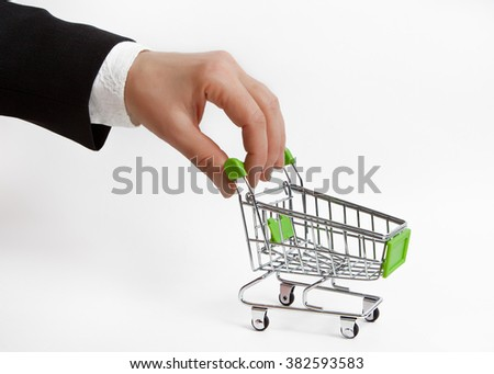 The hand with the empty grocery cart