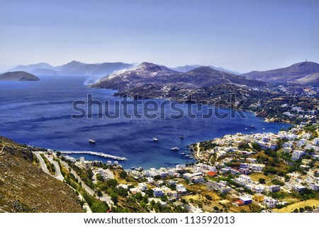 The harbor of Skala on the Island of Patmos, Greece