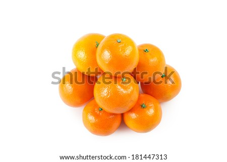 the heap from a mandarins on a white background isolated