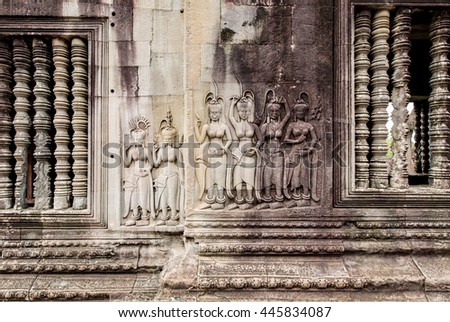 The Hidden Wall, Terrace of the Leper King, carvings of Nagas and Deities of the underworld, Angkor Wat, Siem reap. Cambodia