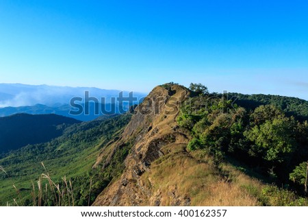 The highest peak of the mountain scenery in Doi Mon-Chong, Omkoi, Chiang Mai,Thailand