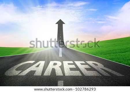 The highway road going up as an arrow, symbolizing as the way to better career