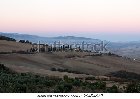 The hills around Pienza and Monticchiello  just after sunrise. tuscany, Italy.