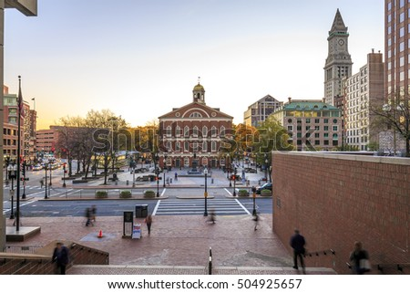 The historic buildings of Boston in Massachusetts, USA with kits Georgian-style architecture at Government Center at sunrise.