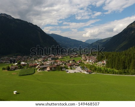 The holiday village of Mayrhofen in the Zillertal