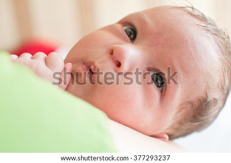 The horizontal portrait of the little baby