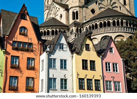 The houses of the Fish Market and the St Martin Church in Cologne