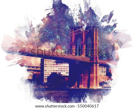 The iconic Brooklyn Bridge in New York City turned into a colorful illustration