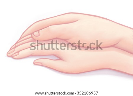 The illustration of a male and a female holding hands