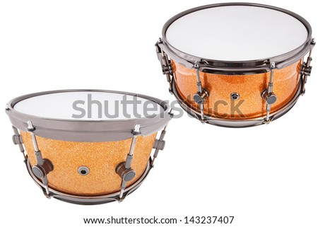 The image of drums under a white background