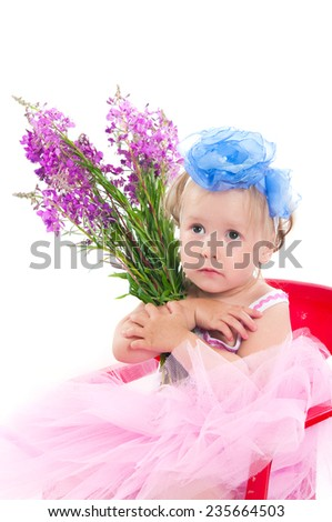The image of the little girl with a willow-herb bouquet