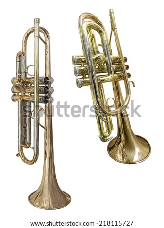 The image of trumpet under the white background