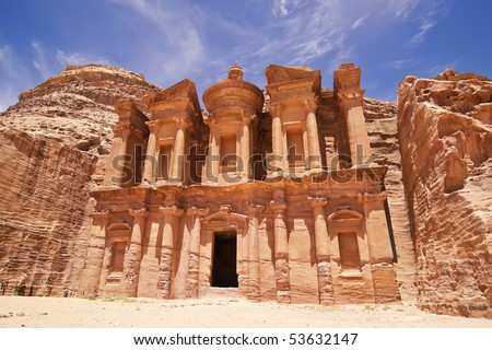 The imposing Monastery in Petra, Jordan