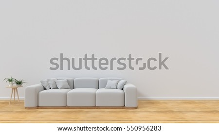 The Interior Has A White Sofa On Empty Wall Background3D Rendering