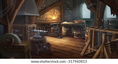 The interior of a blacksmith