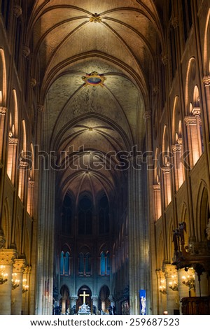 The interior of the Notre Dame de Paris at night, France