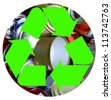 The international recycle symbol on top of a bunch of crushed aluminum cans in a circle representing the Earth isolated on white - stock photo