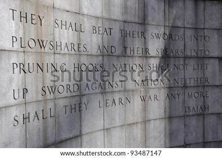 The Isaiah Wall in the Ralph Bunche Park at the United Nations, New York, USA.